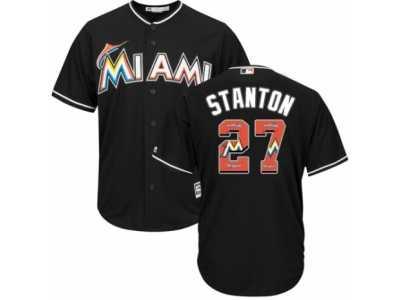 25645126c Men  s Majestic Miami Marlins  27 Giancarlo Stanton Authentic Black Team  Logo Fashion