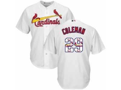c76a3f0eafd Men s Majestic St. Louis Cardinals  29 Vince Coleman Authentic White Team  Logo Fashion Cool