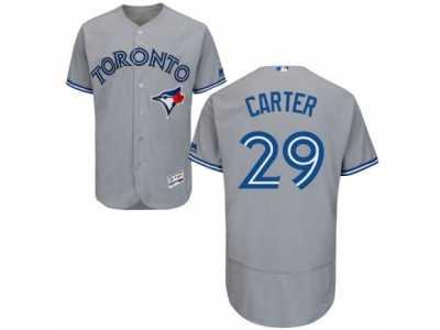 9bdc06f8a29 Men s Majestic Toronto Blue Jays  29 Joe Carter Grey Flexbase Authentic  Collection MLB Jersey