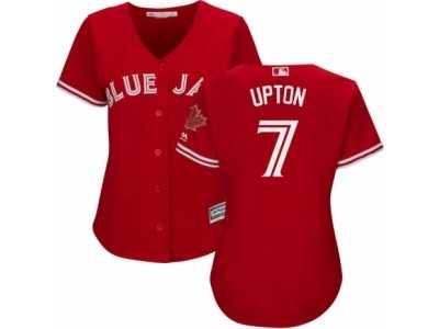 eda110185 Women  s Majestic Toronto Blue Jays  7 B.J. Upton Replica Red Canada Day