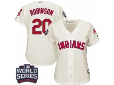 Women s Majestic Cleveland Indians  20 Eddie Robinson Authentic Cream  Alternate 2 2016 World Series Bound c686c8dd6