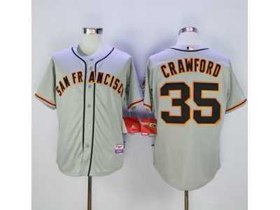 mlb men san francisco giants 35 brandon crawford grey cool base road stitched jersey