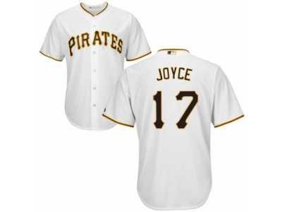 d7ed26c47 Men s Majestic Pittsburgh Pirates  17 Matt Joyce Replica White Home Cool  Base MLB Jersey