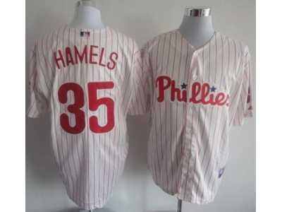 ... MLB Philadelphia Phillies  35 Cole Hamels White Jerseys(Red Strip) fcbc63df6