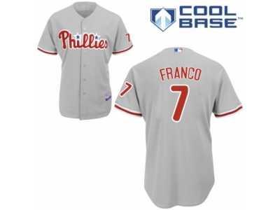 fae4fc79783 Men's Majestic Philadelphia Phillies #7 Maikel Franco Authentic Grey Road  Cool Base MLB Jersey