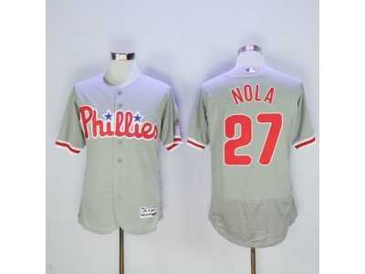info for 66488 e747e Philadelphia Phillies #27 Aaron Nola Grey Flexbase Authentic ...