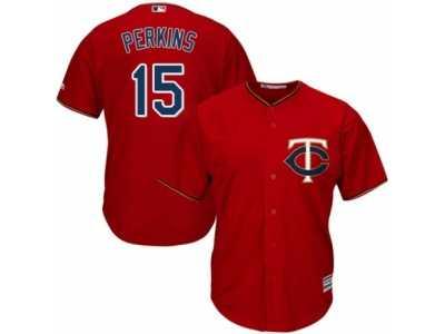 7fe65f6996a Men's Majestic Minnesota Twins #15 Glen Perkins Replica Scarlet Alternate  Cool Base MLB Jersey