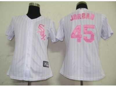 best sneakers 2f21e d4974 MLB Women Jerseys Chicago White Sox #45 Jordan White[Pink ...