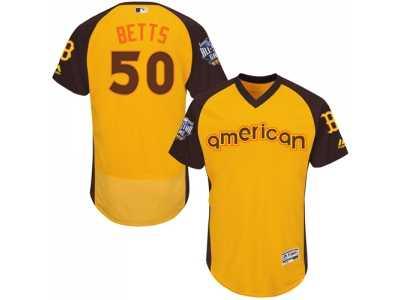 0db2b59a04e Men's Majestic Boston Red Sox #50 Mookie Betts Yellow 2016 All-Star  American League