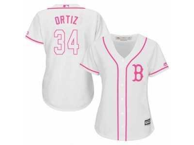 2238be71a9f Women s Majestic Boston Red Sox  34 David Ortiz Replica White Fashion MLB  Jersey
