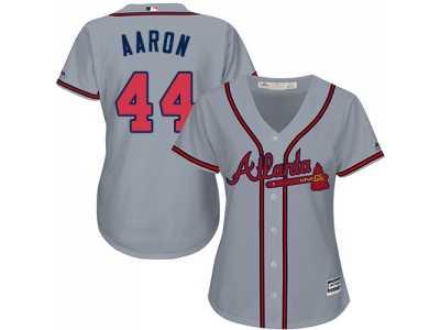 0a9db83046a Women s Atlanta Braves  44 Hank Aaron Grey Road Stitched MLB Jersey ...