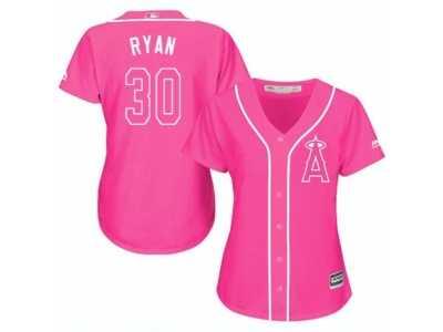 8d6cc512c40 Women s Majestic Los Angeles Angels of Anaheim  30 Nolan Ryan Replica Pink  Fashion MLB Jersey