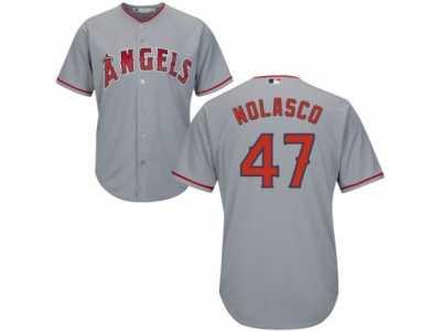 39ae05c6975 Women  s Majestic Los Angeles Angels of Anaheim  47 Ricky Nolasco Authentic  Grey