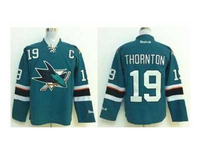 02207ef40 ... nhl jerseys san jose sharks  19 thornton green 2014 new stadium  patch