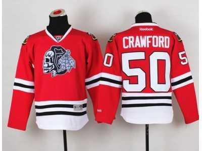 NHL Youth Chicago Blackhawks  50 Corey Crawford Red(White Skull) Stitched b299c50fb