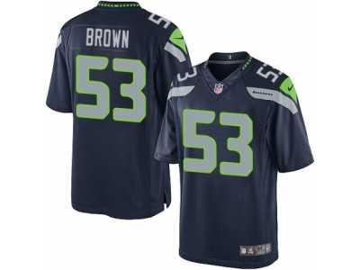 mens nike seattle seahawks 53 arthur brown limited steel blue team color nfl jersey