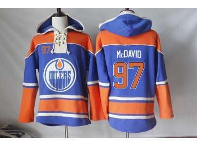 dfcfd3764 Men\'s Edmonton Oilers #97 Connor McDavid Orange Sawyer Hooded Sweatshirt  Stitched NHL