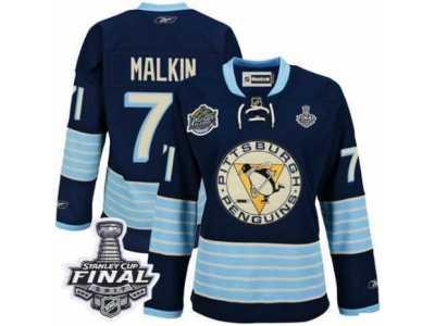Women s Reebok Pittsburgh Penguins  71 Evgeni Malkin Premier Navy Blue Third  Vintage 2017 Stanley Cup 9904287a2