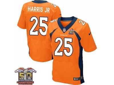 5bc220293 Nike Denver Broncos  25 Chris Harris Jr Men s Orange NFL Home Super Bowl 50  Champions