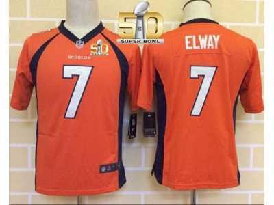 f0e03a50b ... Youth Nike Broncos  7 John Elway Orange Team Color Super Bowl 50  Stitched Jersey