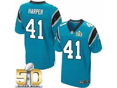 69e8b7840 Nike Carolina Panthers  41 Roman Harper Blue Alternate Super Bowl 50 Men s  Stitched NFL Elite