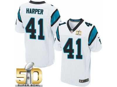 Nike Carolina Panthers  41 Roman Harper White Super Bowl 50 Men s Stitched  NFL Elite Jersey 045686c2f
