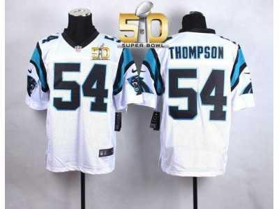 Nike Carolina Panthers  54 Shaq Thompson White Super Bowl 50 Men s Stitched  NFL Elite Jersey a050144da