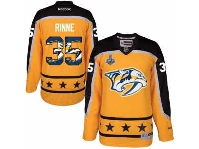 9c195f774 Men s Reebok Nashville Predators  35 Pekka Rinne Authentic Gold Home 2017  Stanley Cup Final NHL