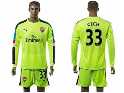 61a69e34 Arsenal #33 Cech Shiny Green Goalkeeper Long Sleeves Soccer Club Jersey