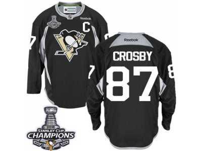 Men  s Reebok Pittsburgh Penguins  87 Sidney Crosby Premier Black Practice  2016 Stanley 103277bf1