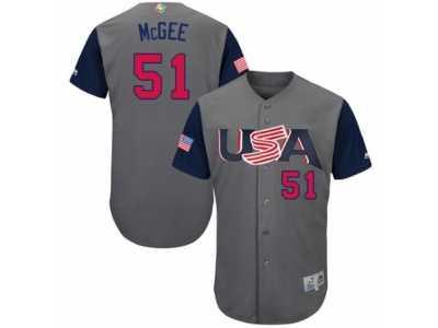0c35a4e7b Men  s USA Baseball Majestic  51 Jake McGee Gray 2017 World Baseball Classic
