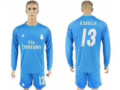 3b1f41a98 Real Madrid  13 K.Casilla Sky Blue Goalkeeper Long Sleeves Soccer Club  Jersey