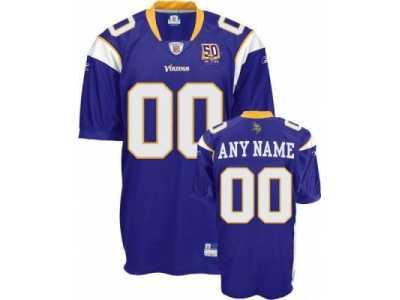 78846af0e23 Customized Minnesota Vikings Jersey Purple 50th Anniversary Patch Football