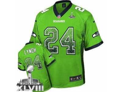 Nike Seattle Seahawks  24 Marshawn Lynch Green Super Bowl XLVIII NFL Elite  Drift Fashion Jersey f0598e025