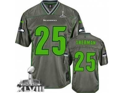 1c7a3072 Nike Seattle Seahawks #25 Richard Sherman Grey Super Bowl XLVIII NFL ...