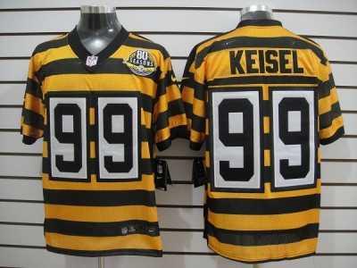 Discount Nike NFL Pittsburgh Steelers #99 Keisel Yellow Black 80th Throwback