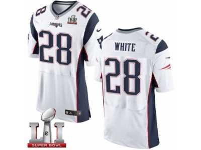 61c9b4abd Men s Nike New England Patriots  28 James White Elite White Super Bowl LI  51 NFL