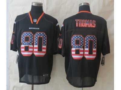Cheap Nike Denver Broncos #80 Thomas Black Jerseys(Elite USA Flag Fashion  hot sale