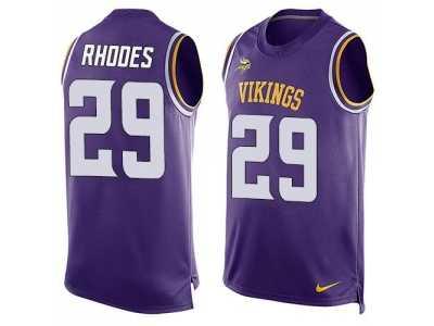 nike minnesota vikings 29 xavier rhodes purple team color mens stitched nfl limited tank top