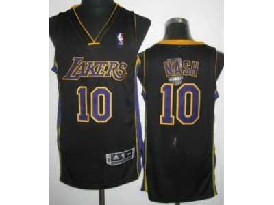 nba Los Angeles Lakers  10 Steve Nash Black Jerseys Revolution 30 Purple  Number 98300d52e