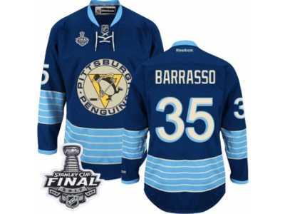 35ab3b432 Men  s Reebok Pittsburgh Penguins  35 Tom Barrasso Premier Navy Blue Third  Vintage