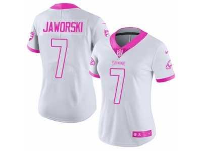 7c487655a Women s Nike Philadelphia Eagles  7 Ron Jaworski Limited White-Pink Rush  Fashion NFL Jersey