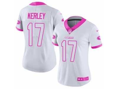 0e1a0fde4 ... Women s Nike San Francisco 49ers  17 Jeremy Kerley Limited White Pink  Rush Fashion NFL Jersey
