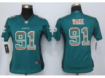 47eace150 Women New Nike Miami Dolphins #91 Wake Green Strobe Jerseys Women ...