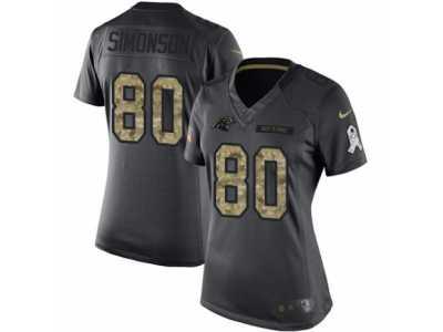 195e693a1 Women s Nike Carolina Panthers  80 Scott Simonson Limited Black 2016 Salute  to Service NFL Jersey