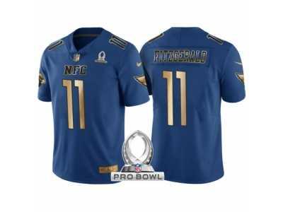 a23dee519efc Women Arizona Cardinals  11 Larry Fitzgerald NFC 2017 Pro Bowl Blue Gold  Limited Jersey