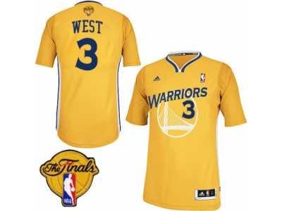 503065e1fba Men s Adidas Golden State Warriors  3 David West Swingman Gold Alternate  2017 The Finals Patch