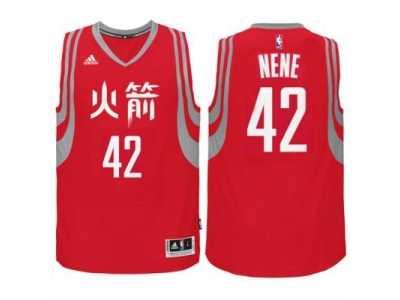 0481b3510c34 adidas Houston Rockets  42 Nene Hilario Red Chinese New Year Swingman Jersey